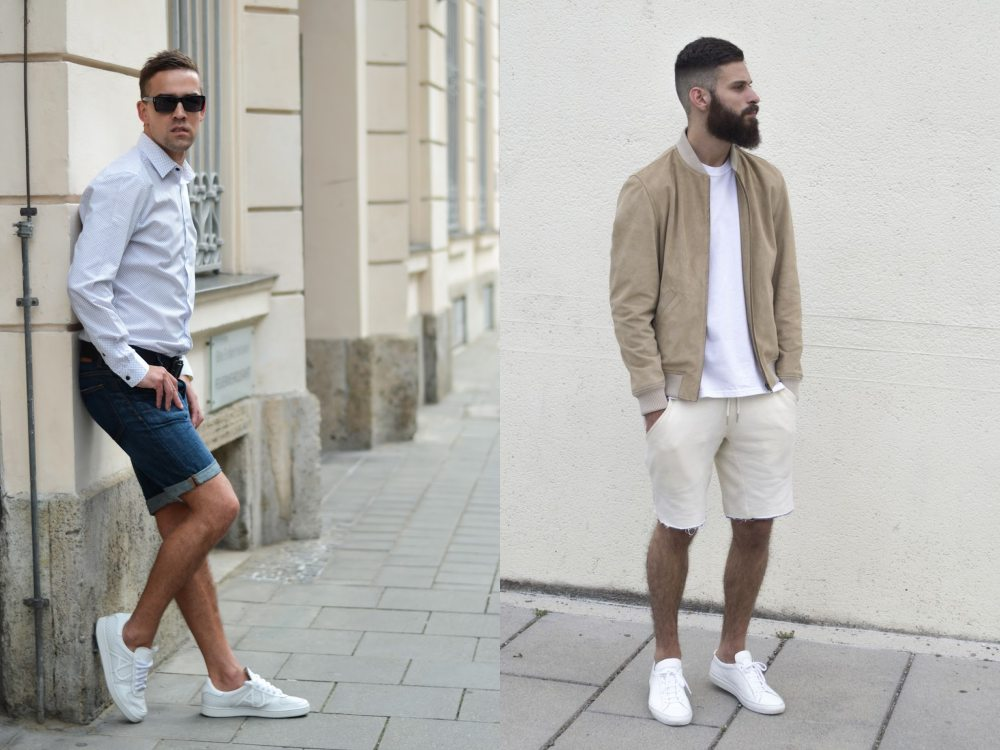 men style white sneaker short pants 2 - To Create A Fashion Style, You Just Need A Pair Of White Shoes!