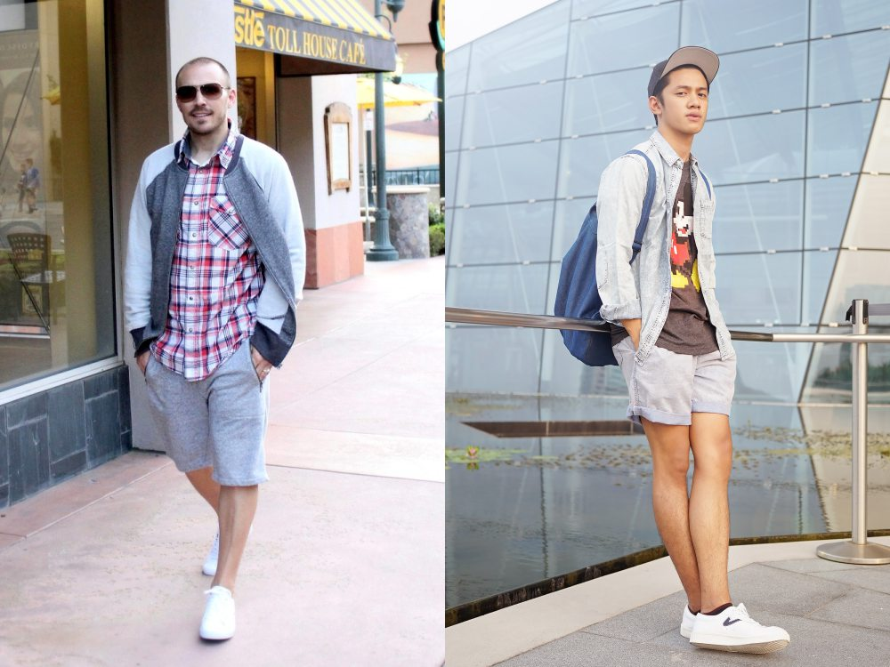 men style white sneaker short pants - To Create A Fashion Style, You Just Need A Pair Of White Shoes!