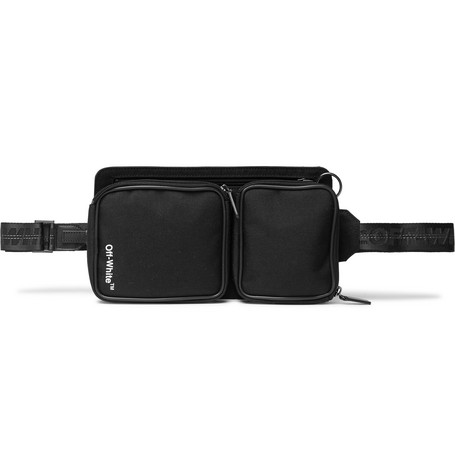 Off White Leather Trimmed Canvas Belt Bag - 街头潮人必备 Bum Bag!