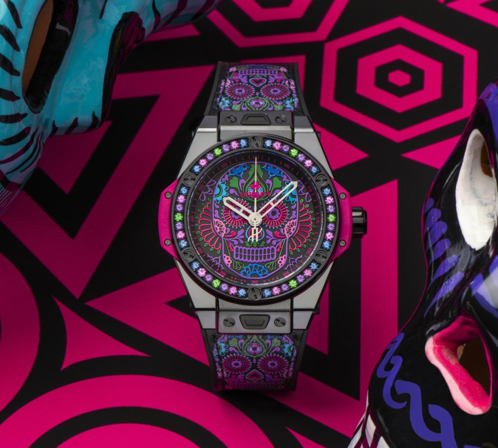 Hublot Big Bang One Click Calavera Catrina Siar Mexico Skull Tattoored - 墨西哥骷髅的色彩印记:Hublot Big Bang 亡灵节限量表款