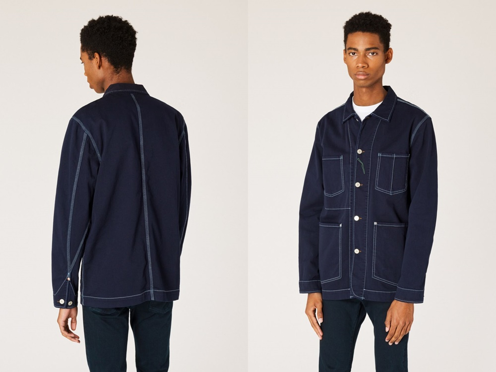PS Paul Smith Navy Over Dyed Denim Chore Jacket With Contrast Stitching - 秋冬精选:21款丹宁外套