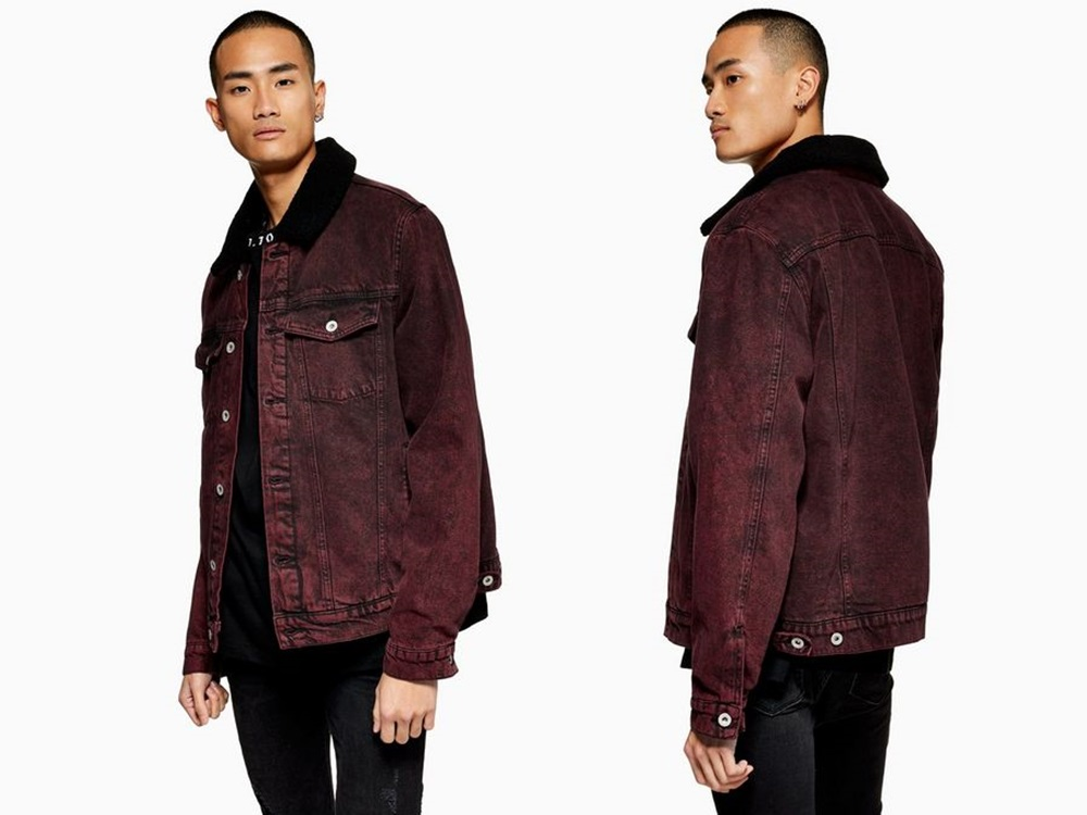 Topman Red Acid Wash Borg Denim Jacket RM439 - 秋冬精选:21款丹宁外套