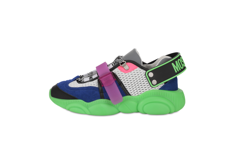 moschino FLUO TEDDY sneakers neon green - 跳脱出位!Moschino Fluo Teddy 球鞋换上霓虹色彩