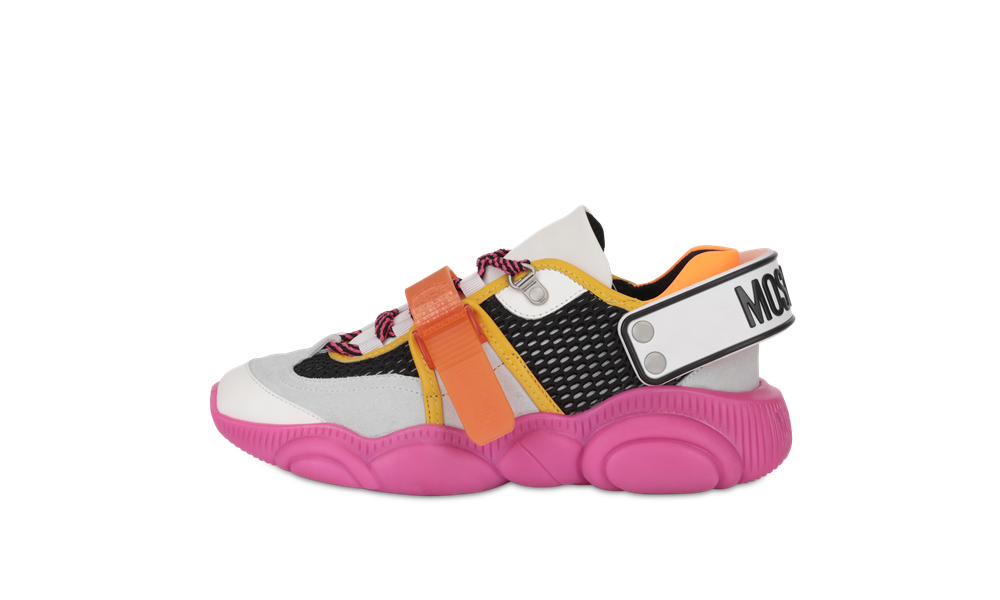 moschino FLUO TEDDY sneakers neon pink - 跳脱出位!Moschino Fluo Teddy 球鞋换上霓虹色彩