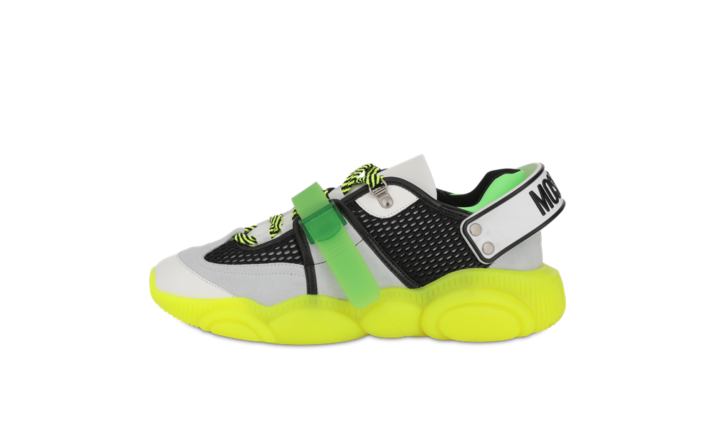 moschino FLUO TEDDY sneakers neon yellow - 跳脱出位!Moschino Fluo Teddy 球鞋换上霓虹色彩