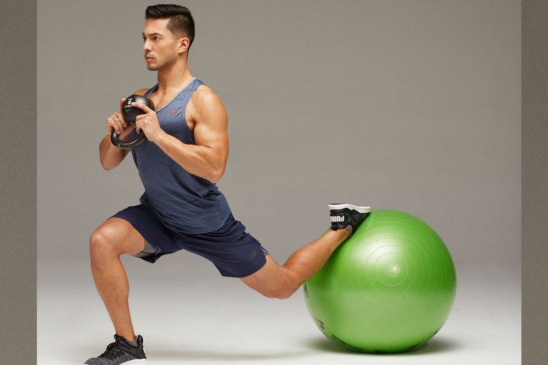 Weighted Bulgarian Split Squat - Stability Ball Workout 改善弱点、加强平衡
