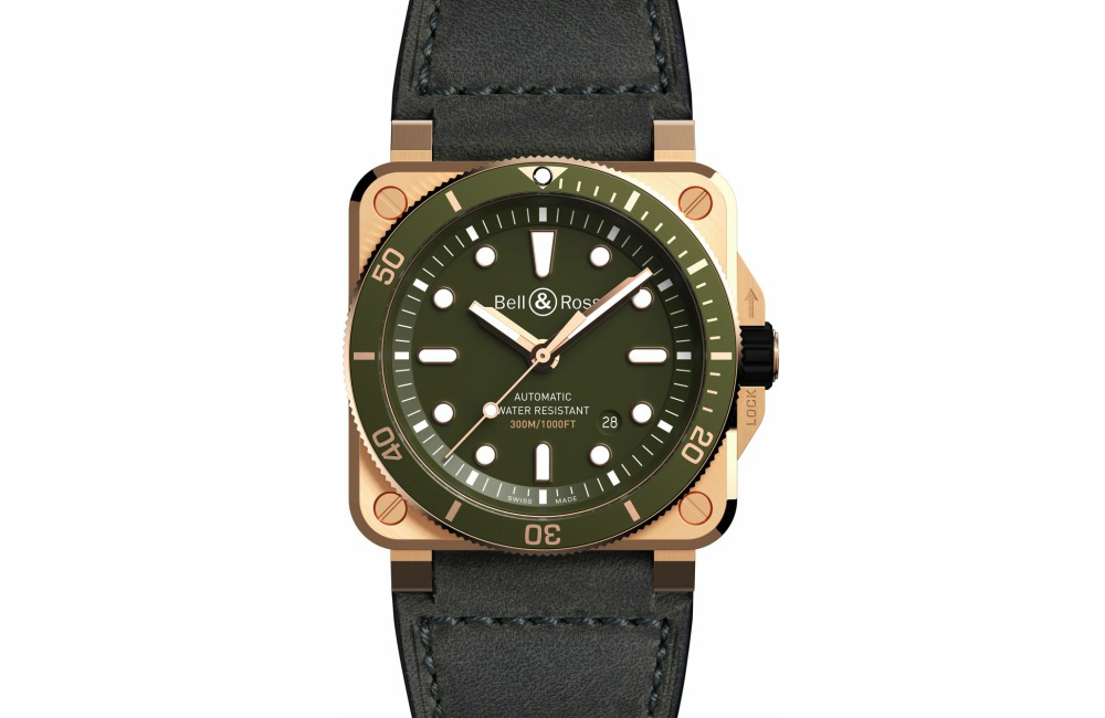 Bell Ross BR03 Dive Green Bronze Watch - 青铜版潜水逸品:BELL & ROSS BR03-92 Green Bronze
