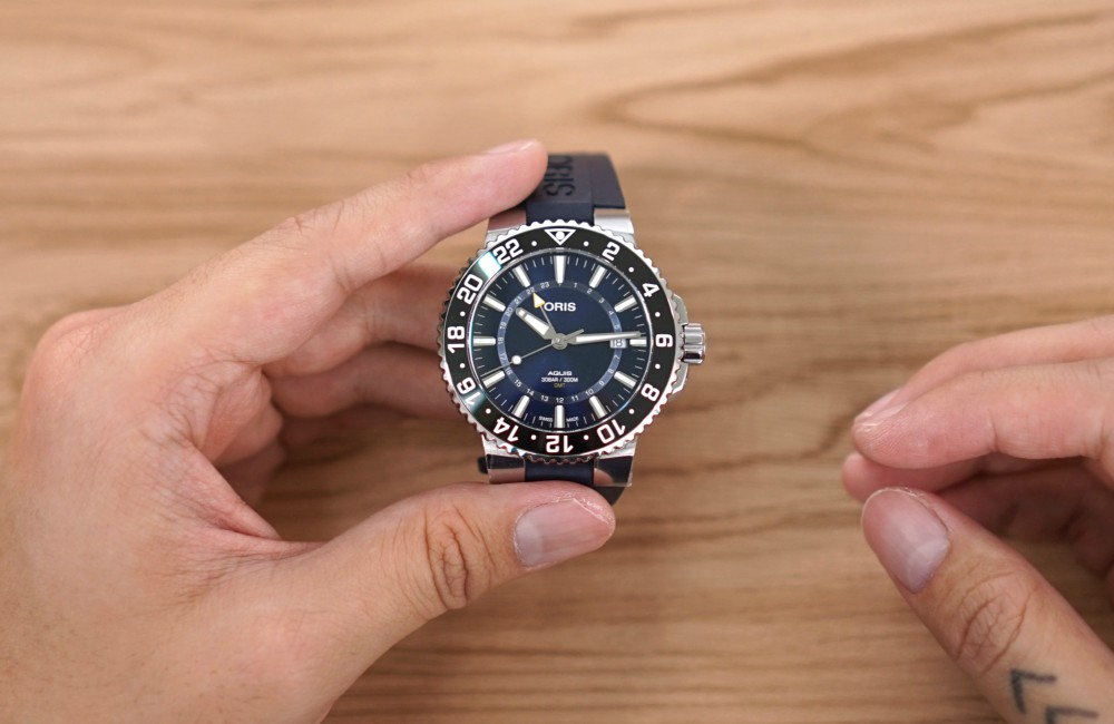Editors Review Oris Aquis Date GMT on wrist - [编辑试戴]:ORIS AQUIS DATE GMT 双时区潜水表