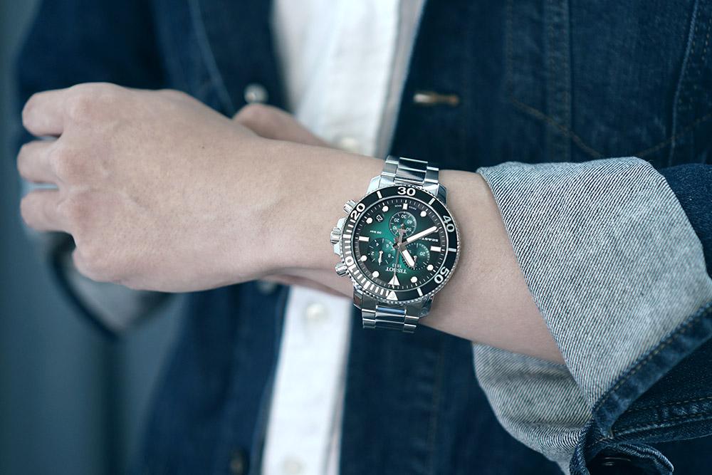 kingssleeve Tissot seastar 1000 greendail diving watch review with denim jacket - 编辑试戴|超高性价比的 Tissot Seastar 1000 石英计时码表