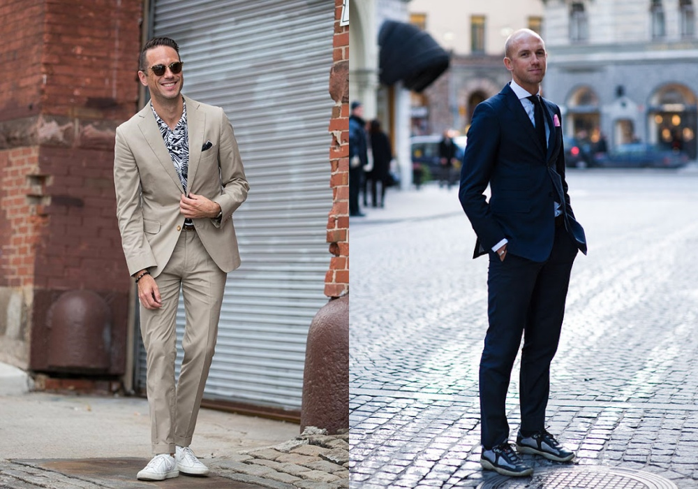 Men Suits with Sneakers smart casual - 搭配正装也合适的8款球鞋