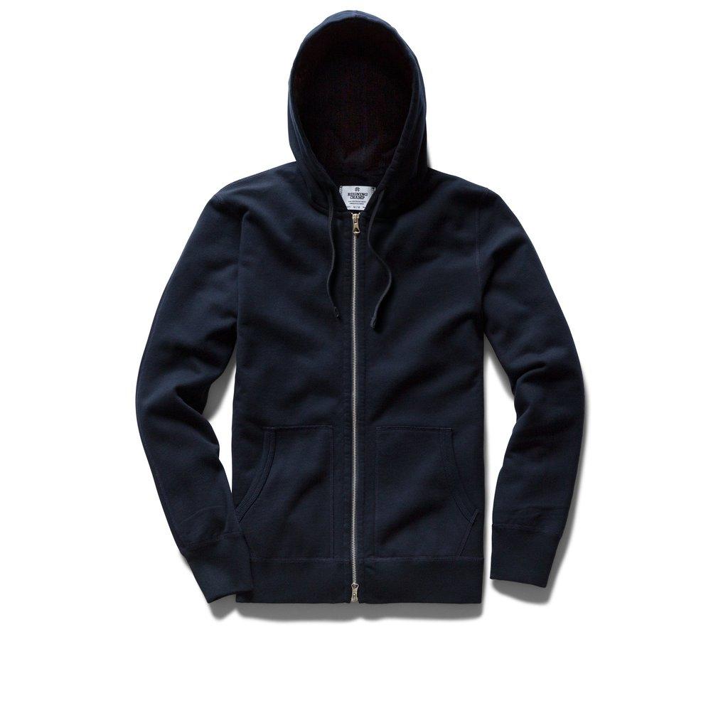 Navy blue zip up hoodie by Reigning Champ Ryan Reynolds - 一件T-Shirt穿18年!Ryan Reynolds 最爱的时尚单品