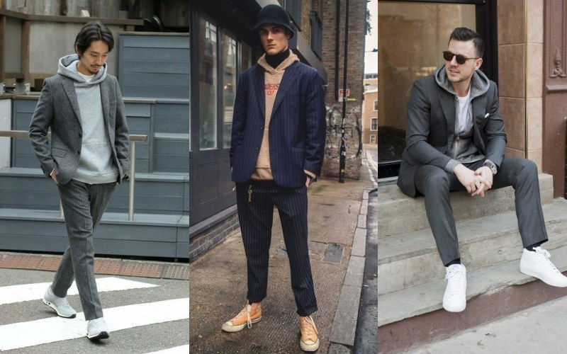 how to wear hoodie in style blazer - 连帽衫怎么搭才时尚?