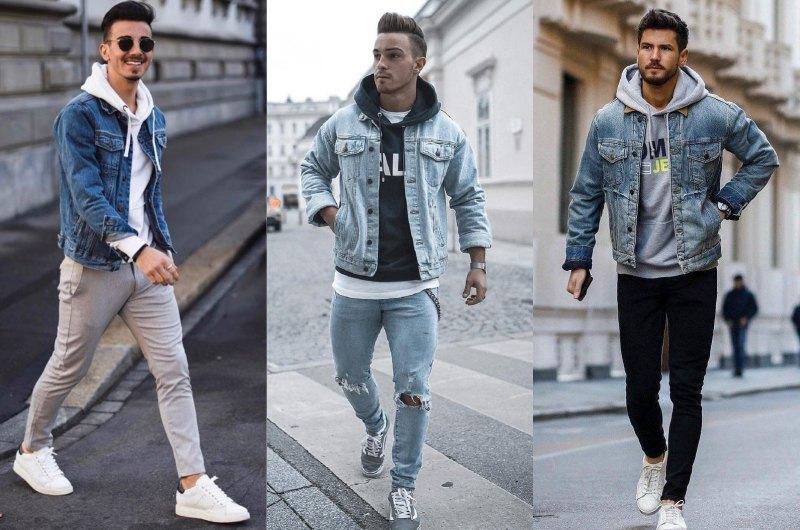how to wear hoodie in style denim jacket - 连帽衫怎么搭才时尚?