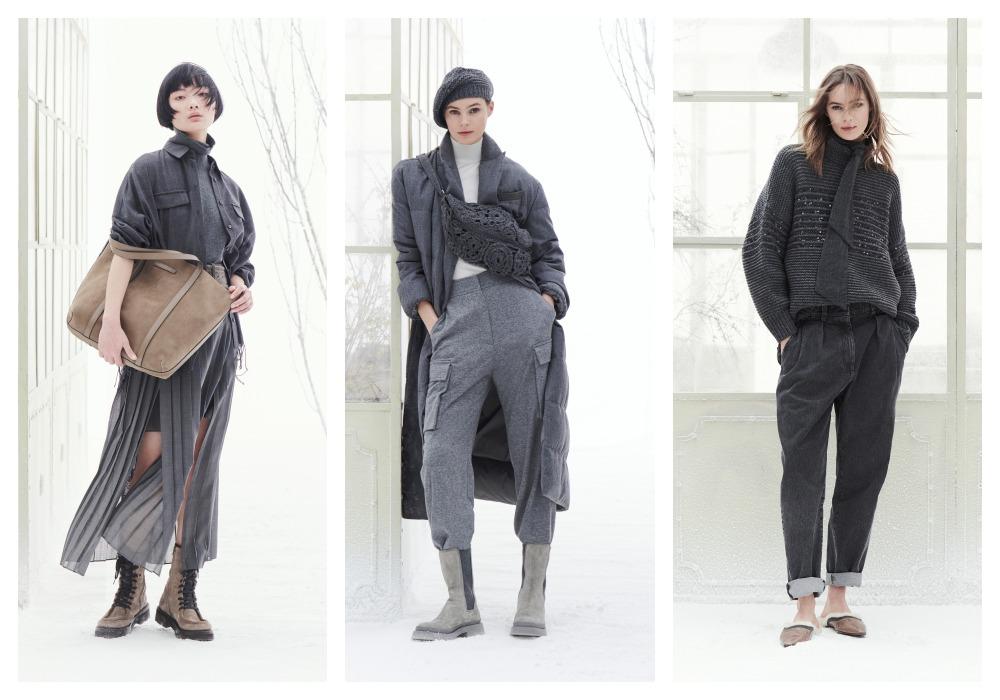 female model in black - Brunello Cucinelli 冬季男女装系列,开辟新风格织造时间的艺术!