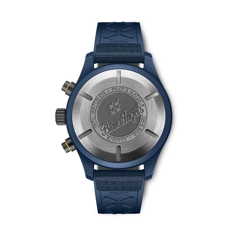 blue angels back - IWC SCHAFFHAUSEN 飞行员系列再添 3款全新陶瓷材质计时腕表!