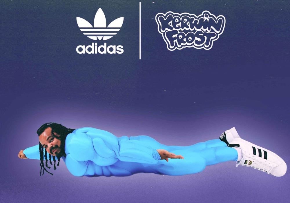 "kerwin frost cover fly like superman - Kerwin Frost x Adidas 推出极有创意的 ""SUPERSTUFFED ""小丑鞋!"