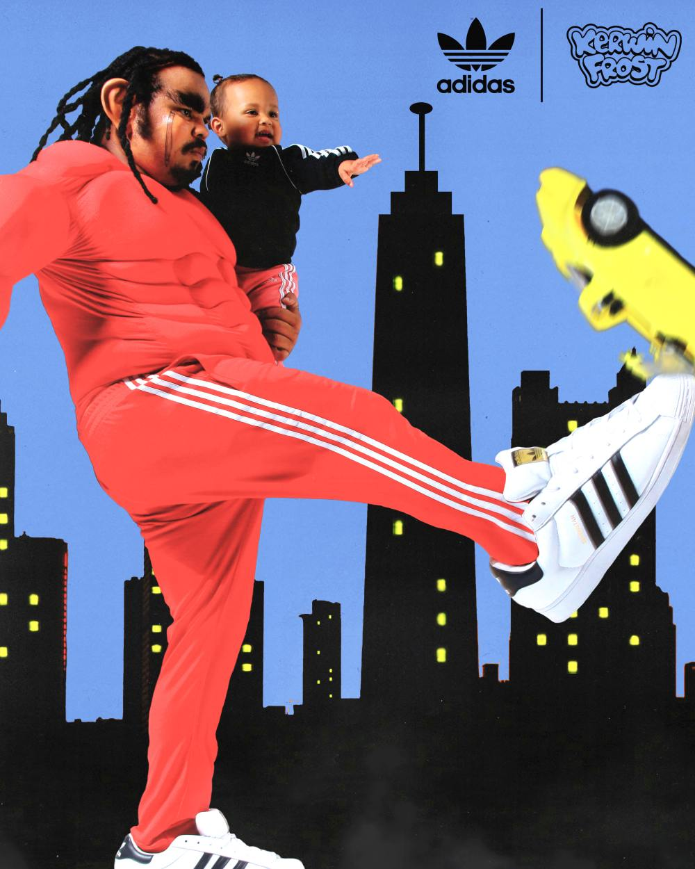 """kerwin frost hold the child wear shoes to kick the car - Kerwin Frost x Adidas 推出极有创意的 """"SUPERSTUFFED """"小丑鞋!"""