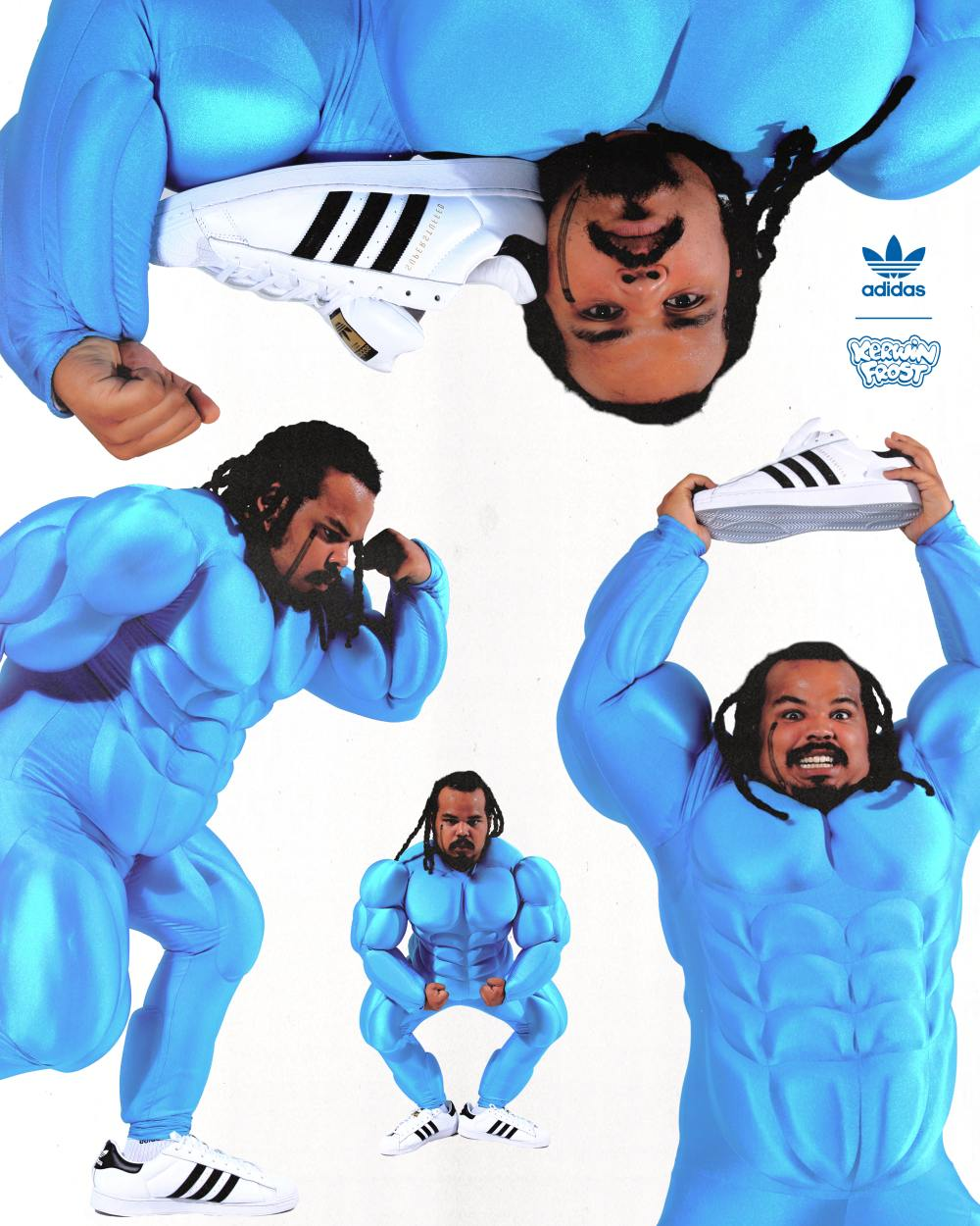 """kerwin frost splitting to play shoes - Kerwin Frost x Adidas 推出极有创意的 """"SUPERSTUFFED """"小丑鞋!"""