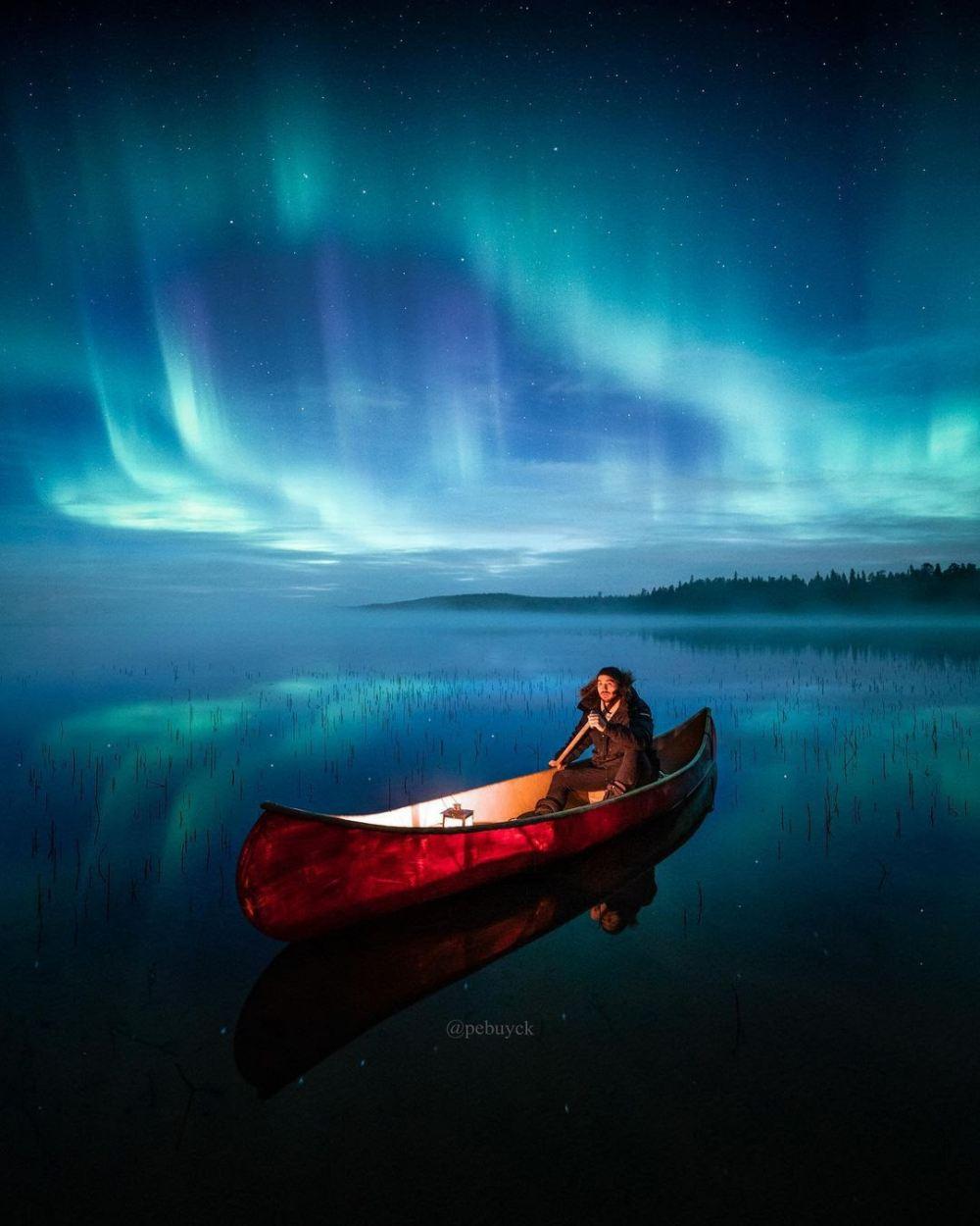 the lonely boat and the northern lights - 带上你最爱的人到芬兰Rovaniemi看浪漫的北极光!
