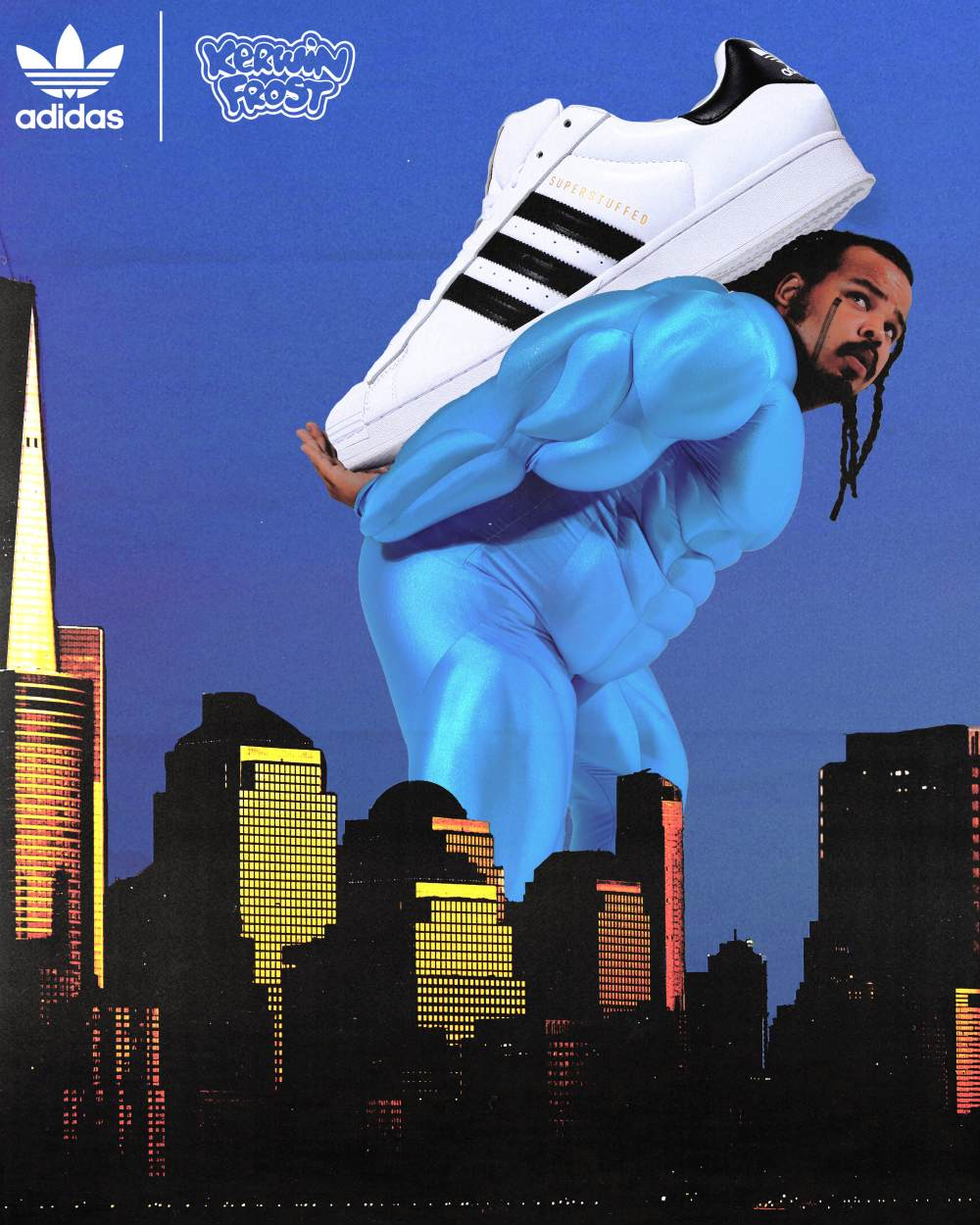 """kerwin frost carrying big shoes - Kerwin Frost x Adidas 推出极有创意的 """"SUPERSTUFFED """"小丑鞋!"""